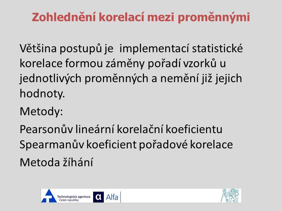 Zohlednění korelací mezi proměnnými Většina postupů je implementací statistické korelace formou záměny pořadí vzorků u jednotlivých proměnných a nemění již jejich hodnoty.