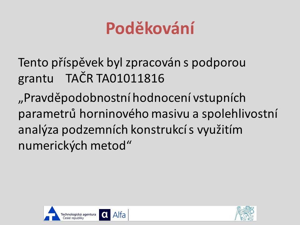 """Poděkování Tento příspěvek byl zpracován s podporou grantu TAČR TA01011816 """"Pravděpodobnostní hodnocení vstupních parametrů horninového masivu a spolehlivostní analýza podzemních konstrukcí s využitím numerických metod"""