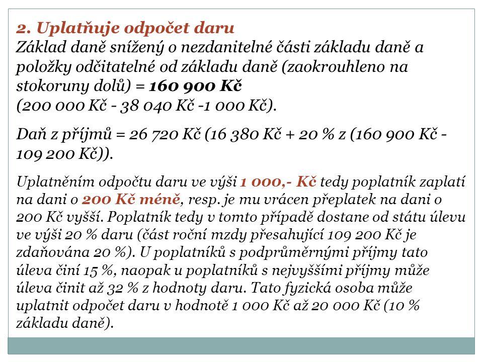 2. Uplatňuje odpočet daru Základ daně snížený o nezdanitelné části základu daně a položky odčitatelné od základu daně (zaokrouhleno na stokoruny dolů)
