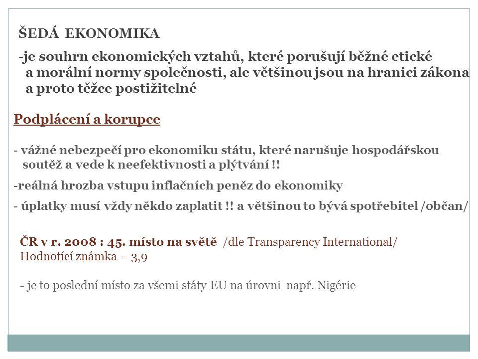 ŠEDÁ EKONOMIKA -je souhrn ekonomických vztahů, které porušují běžné etické a morální normy společnosti, ale většinou jsou na hranici zákona a proto těžce postižitelné Podplácení a korupce - vážné nebezpečí pro ekonomiku státu, které narušuje hospodářskou soutěž a vede k neefektivnosti a plýtvání !.