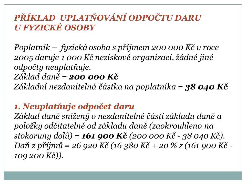PŘÍKLAD UPLATŇOVÁNÍ ODPOČTU DARU U FYZICKÉ OSOBY Poplatník – fyzická osoba s příjmem 200 000 Kč v roce 2005 daruje 1 000 Kč neziskové organizaci, žádné jiné odpočty neuplatňuje.