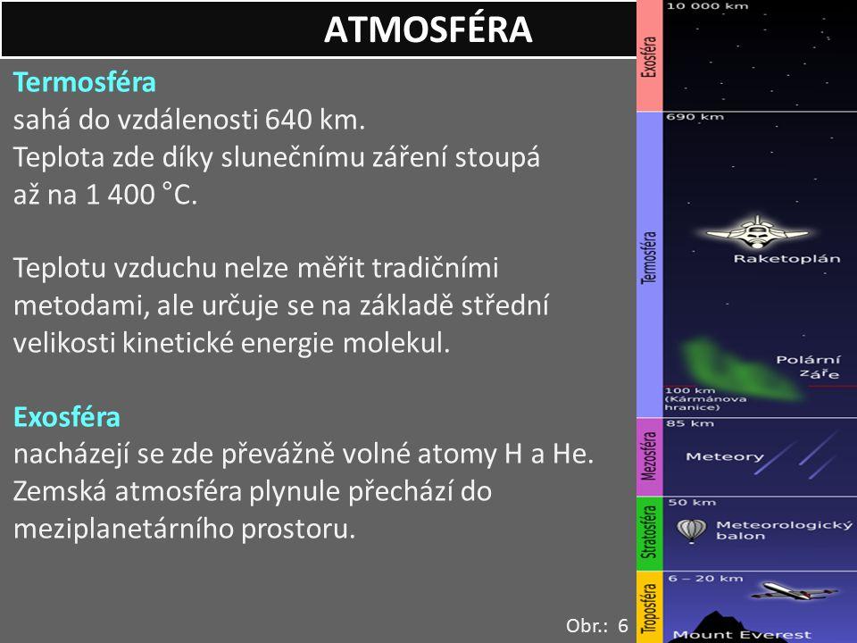 Termosféra sahá do vzdálenosti 640 km. Teplota zde díky slunečnímu záření stoupá až na 1 400 °C. Teplotu vzduchu nelze měřit tradičními metodami, ale