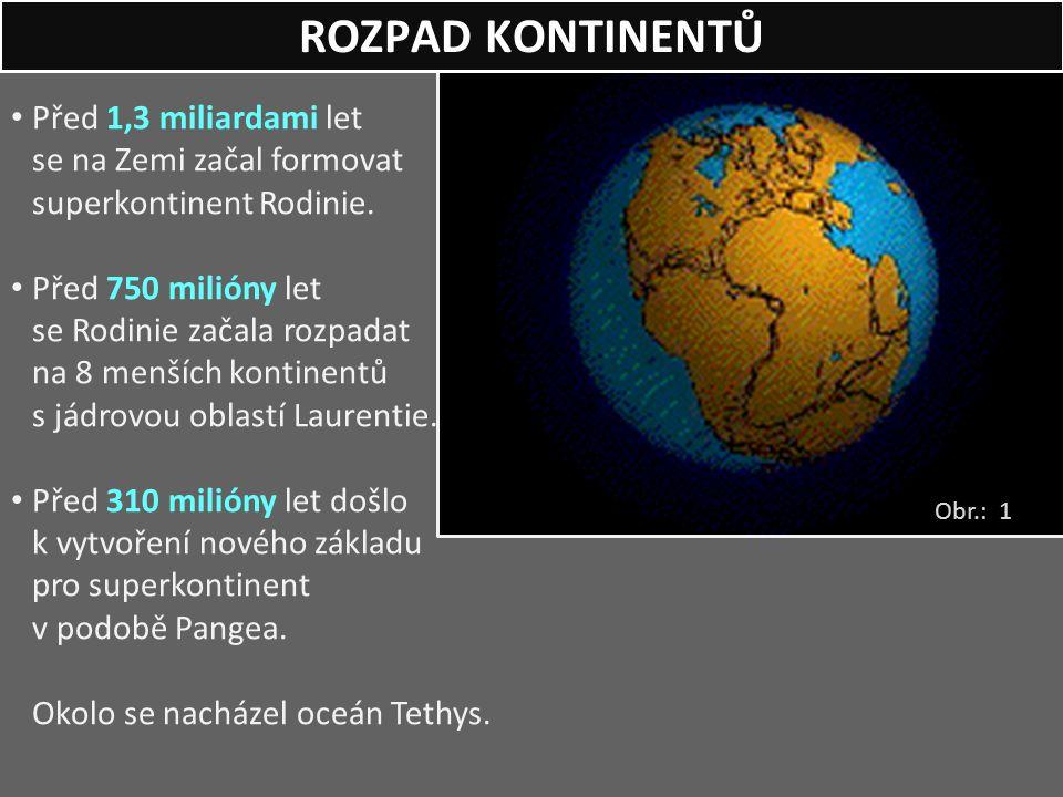 ROZPAD KONTINENTŮ Obr.: 1 Před 1,3 miliardami let se na Zemi začal formovat superkontinent Rodinie. Před 750 milióny let se Rodinie začala rozpadat na