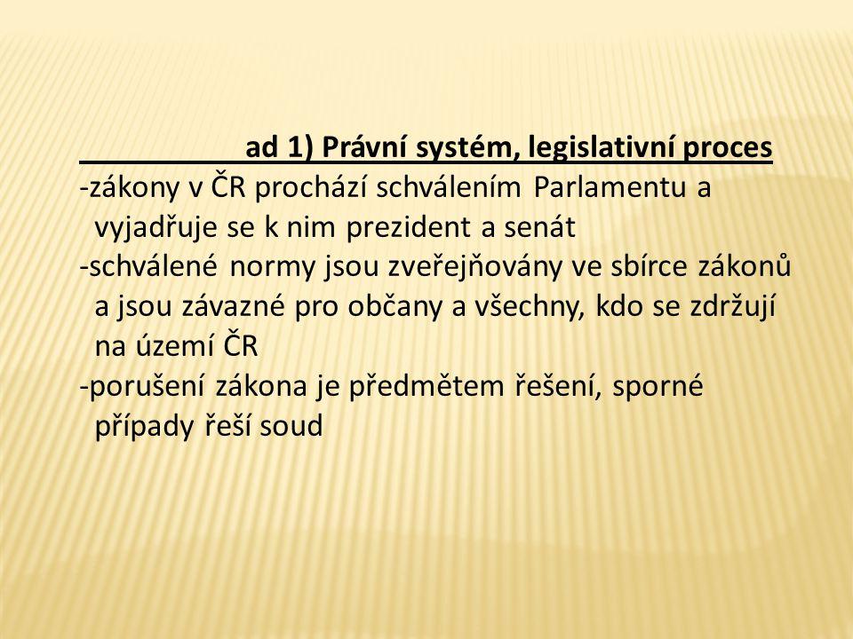 ad 1) Právní systém, legislativní proces -zákony v ČR prochází schválením Parlamentu a vyjadřuje se k nim prezident a senát -schválené normy jsou zveřejňovány ve sbírce zákonů a jsou závazné pro občany a všechny, kdo se zdržují na území ČR -porušení zákona je předmětem řešení, sporné případy řeší soud