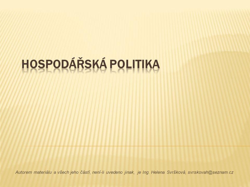 Hospodářská politika představuje, souhrn cílů, zásad, nástrojů a metod sloužících k regulaci ekonomických procesů.