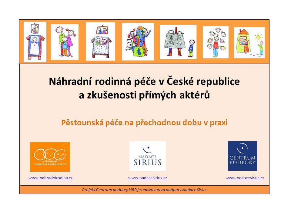 Náhradní rodinná péče v České republice a zkušenosti přímých aktérů Pěstounská péče na přechodnou dobu v praxi Projekt Centrum podpory NRP je realizov