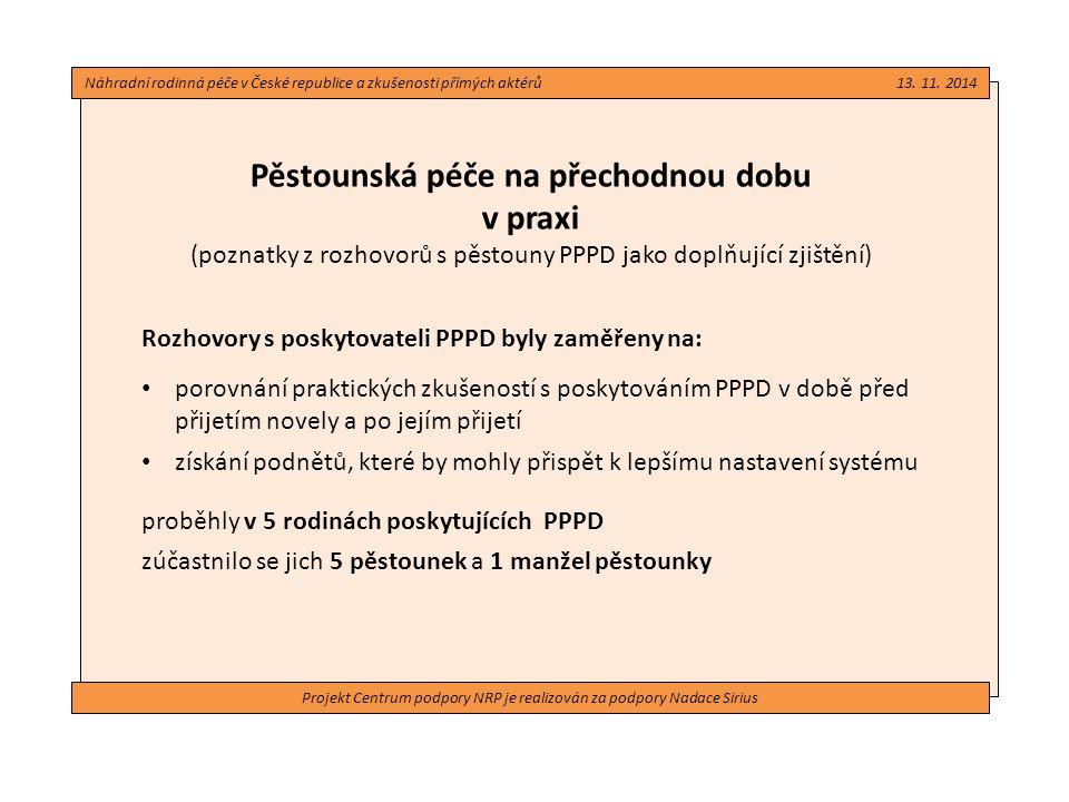 Projekt Centrum podpory NRP je realizován za podpory Nadace Sirius Pěstounská péče na přechodnou dobu v praxi (poznatky z rozhovorů s pěstouny PPPD ja