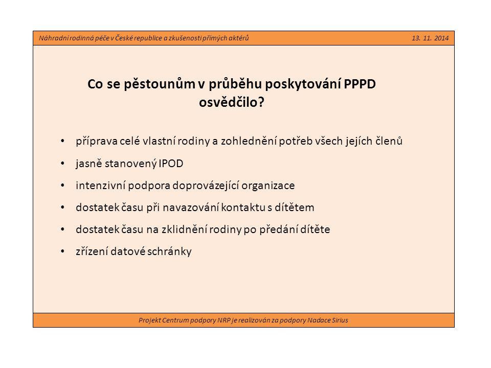 Projekt Centrum podpory NRP je realizován za podpory Nadace Sirius Co se pěstounům v průběhu poskytování PPPD osvědčilo? příprava celé vlastní rodiny