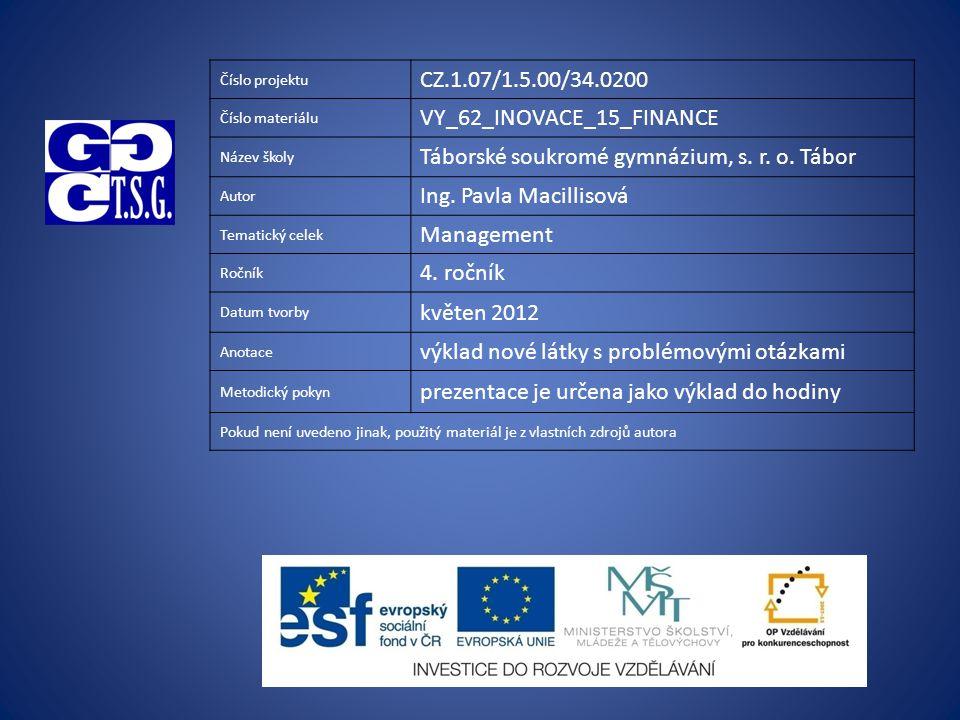 Číslo projektu CZ.1.07/1.5.00/34.0200 Číslo materiálu VY_62_INOVACE_15_FINANCE Název školy Táborské soukromé gymnázium, s.
