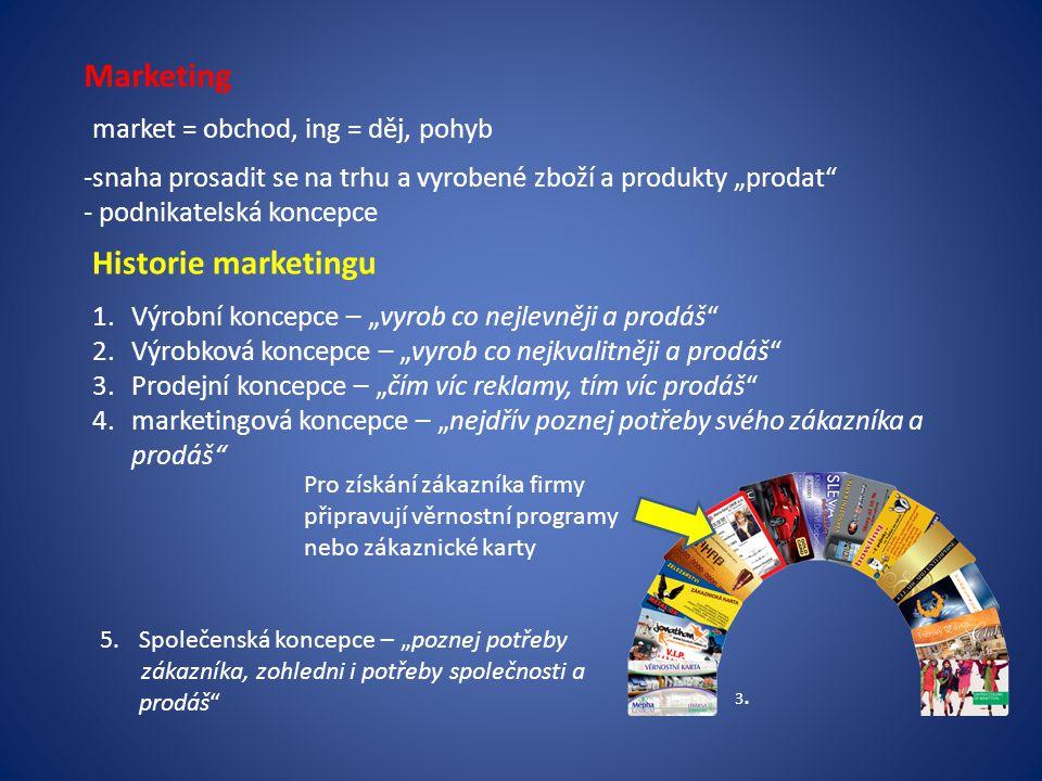 """Marketing market = obchod, ing = děj, pohyb -snaha prosadit se na trhu a vyrobené zboží a produkty """"prodat"""" - podnikatelská koncepce Historie marketin"""