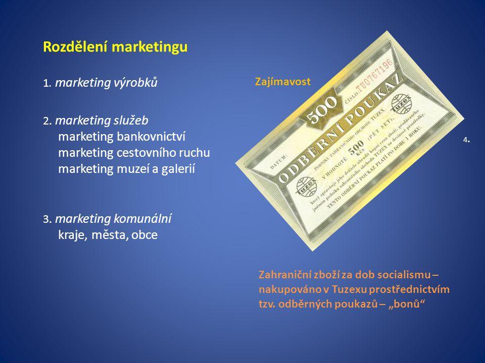 Rozdělení marketingu 1. marketing výrobků 2. marketing služeb marketing bankovnictví marketing cestovního ruchu marketing muzeí a galerií 3. marketing