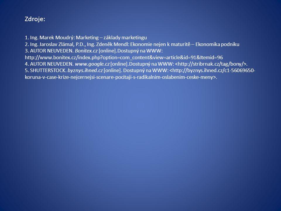 Zdroje: 1. Ing. Marek Moudrý: Marketing – základy marketingu 2. Ing. Jaroslav Zlámal, P.D., Ing. Zdeněk Mendl: Ekonomie nejen k maturitě – Ekonomika p