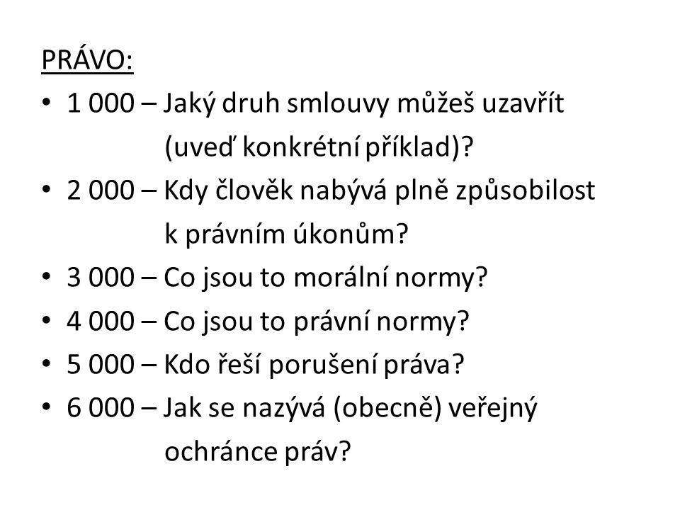 PRÁVO: 1 000 – Jaký druh smlouvy můžeš uzavřít (uveď konkrétní příklad).