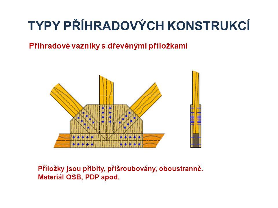 TYPY PŘÍHRADOVÝCH KONSTRUKCÍ Příhradové vazníky s dřevěnými příložkami Příložky jsou přibity, přišroubovány, oboustranně. Materiál OSB, PDP apod.