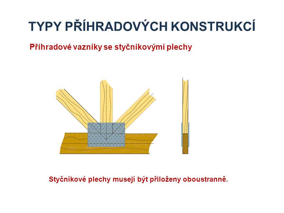TYPY PŘÍHRADOVÝCH KONSTRUKCÍ Příhradové vazníky s ocelovými kolíky V místě připojení je vložen jeden a více ocelových plechů.