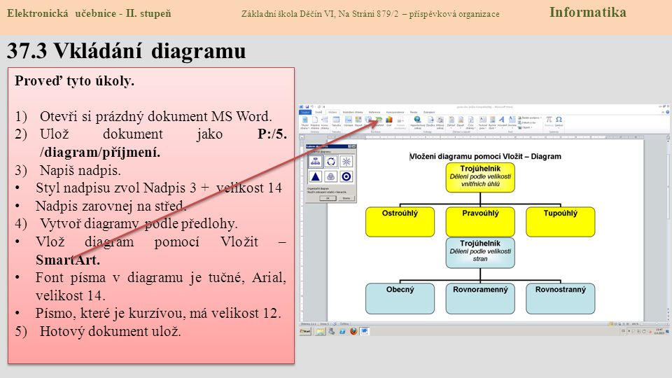 Elektronická učebnice - II. stupeň Základní škola Děčín VI, Na Stráni 879/2 – příspěvková organizace Informatika 37.3 Vkládání diagramu Proveď tyto úk