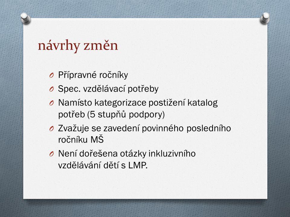 návrhy změn O Přípravné ročníky O Spec.