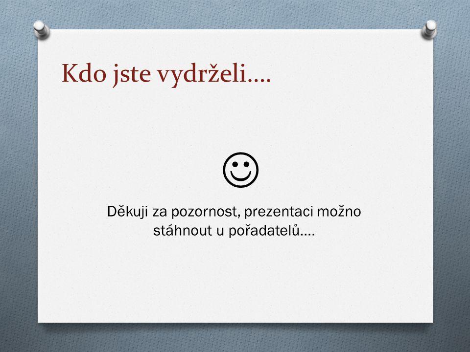 Kdo jste vydrželi…. Děkuji za pozornost, prezentaci možno stáhnout u pořadatelů….