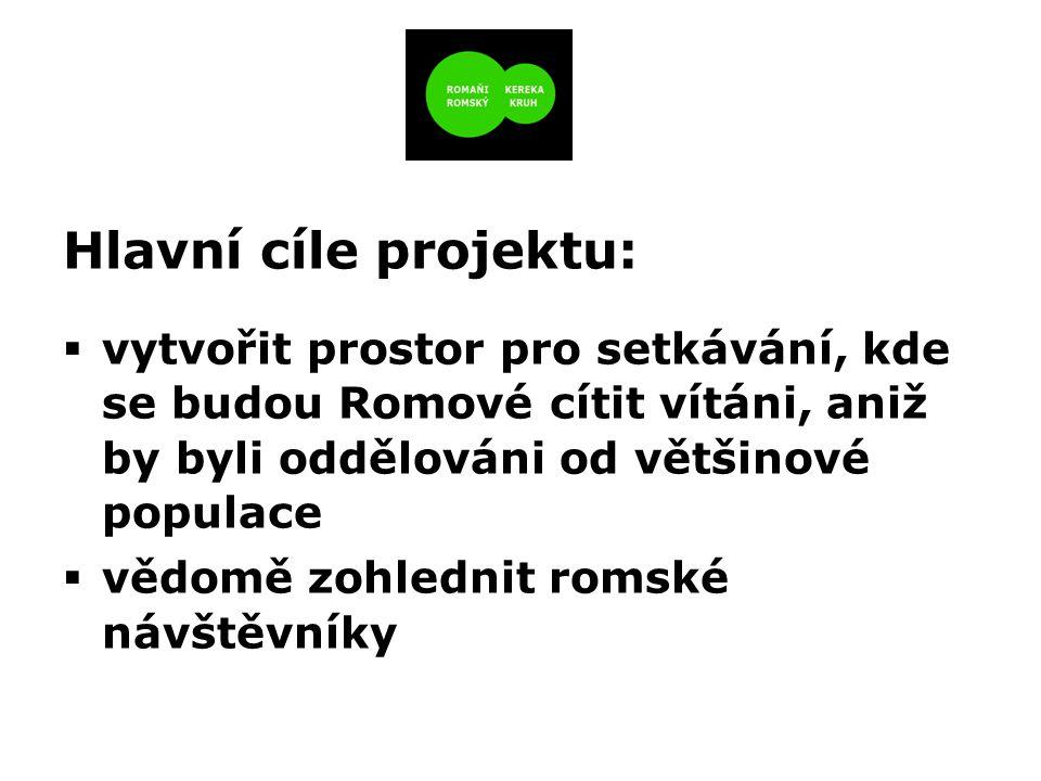 Hlavní cíle projektu:  vytvořit prostor pro setkávání, kde se budou Romové cítit vítáni, aniž by byli oddělováni od většinové populace  vědomě zohlednit romské návštěvníky