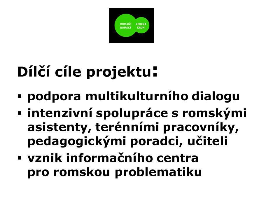 Dílčí cíle projektu :  podpora multikulturního dialogu  intenzivní spolupráce s romskými asistenty, terénními pracovníky, pedagogickými poradci, učiteli  vznik informačního centra pro romskou problematiku