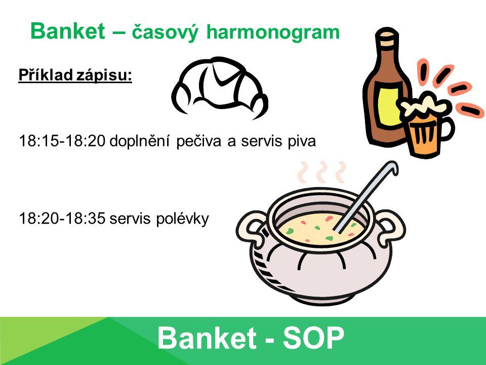 Banket – časový harmonogram Příklad zápisu: 18:15-18:20 doplnění pečiva a servis piva 18:20-18:35 servis polévky