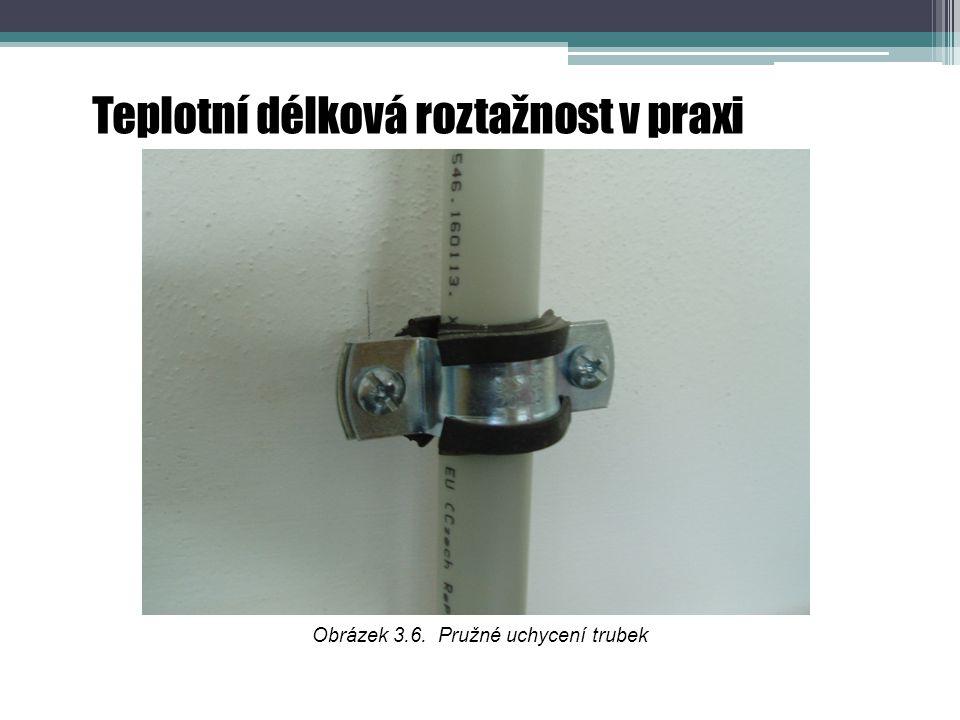 Teplotní délková roztažnost v praxi Obrázek 3.6. Pružné uchycení trubek