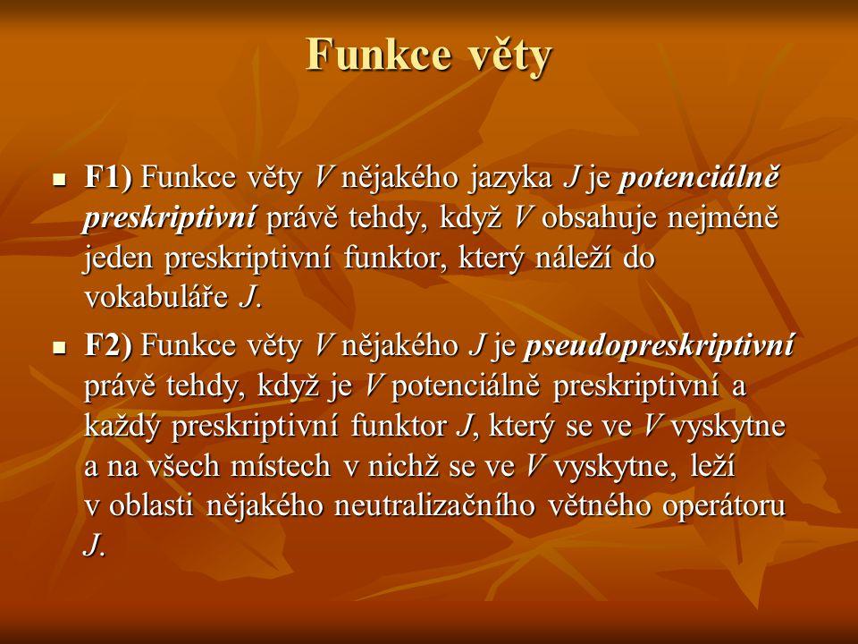 Funkce věty F1) Funkce věty V nějakého jazyka J je potenciálně preskriptivní právě tehdy, když V obsahuje nejméně jeden preskriptivní funktor, který n