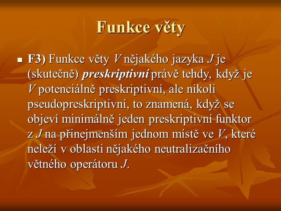 Funkce věty F3) Funkce věty V nějakého jazyka J je (skutečně) preskriptivní právě tehdy, když je V potenciálně preskriptivní, ale nikoli pseudopreskri