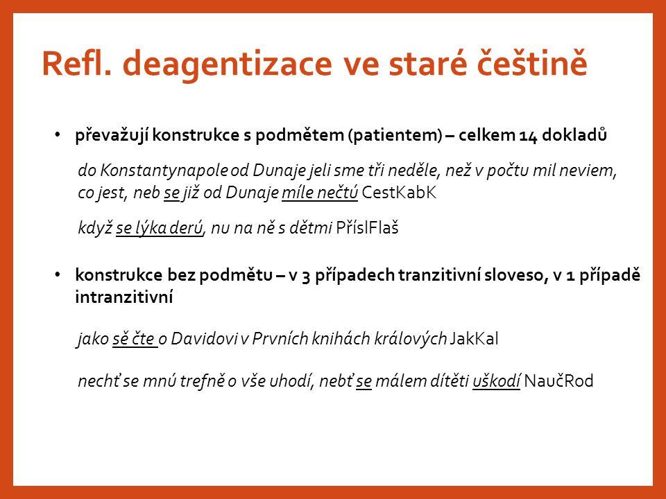 Refl. deagentizace ve staré češtině převažují konstrukce s podmětem (patientem) – celkem 14 dokladů do Konstantynapole od Dunaje jeli sme tři neděle,