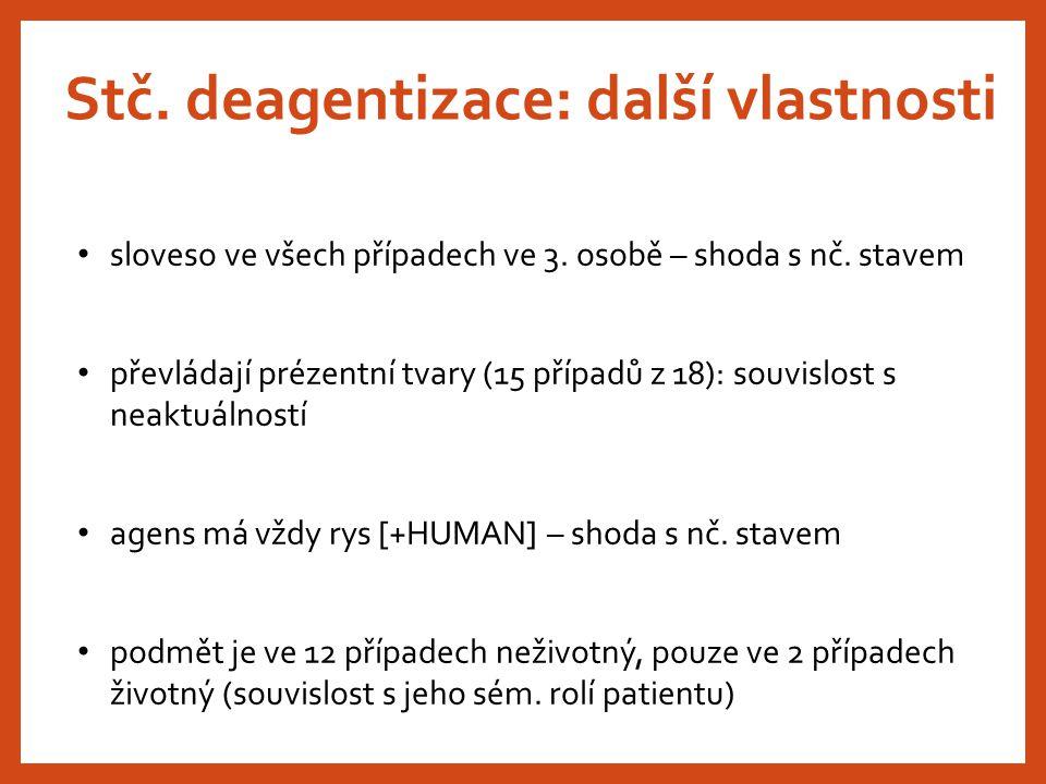 Stč. deagentizace: další vlastnosti sloveso ve všech případech ve 3. osobě – shoda s nč. stavem převládají prézentní tvary (15 případů z 18): souvislo
