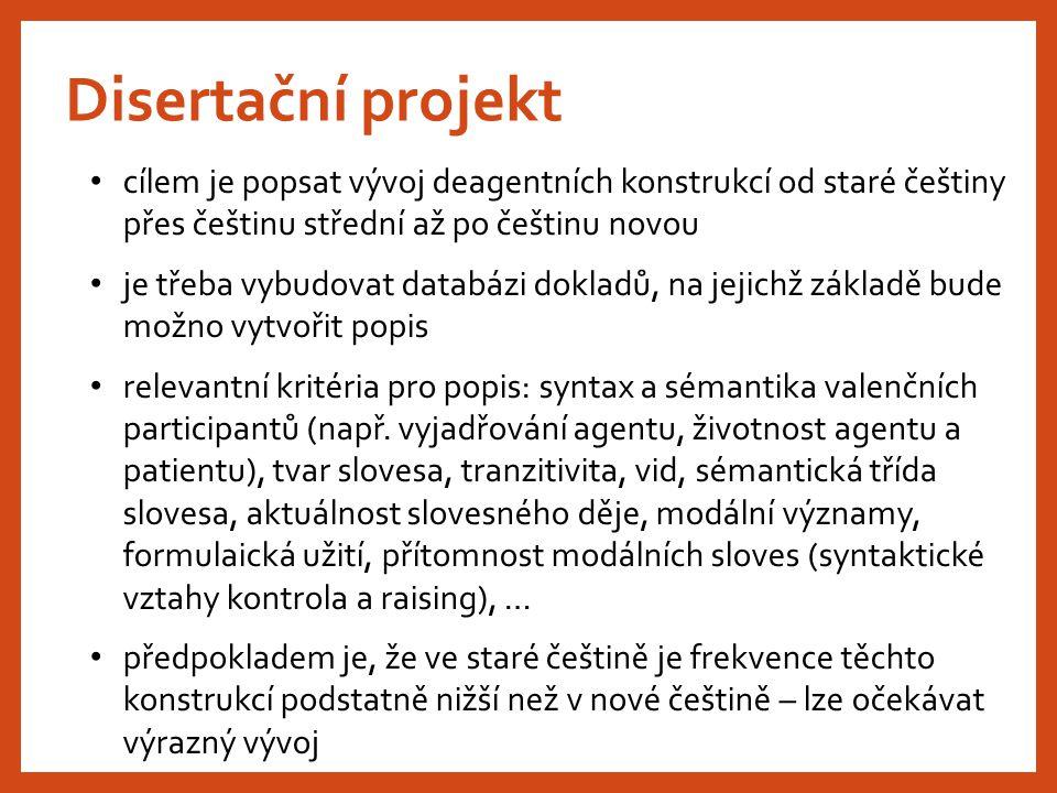 Disertační projekt cílem je popsat vývoj deagentních konstrukcí od staré češtiny přes češtinu střední až po češtinu novou je třeba vybudovat databázi