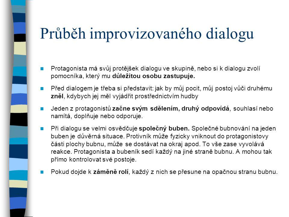 Průběh improvizovaného dialogu Protagonista má svůj protějšek dialogu ve skupině, nebo si k dialogu zvolí pomocníka, který mu důležitou osobu zastupuj
