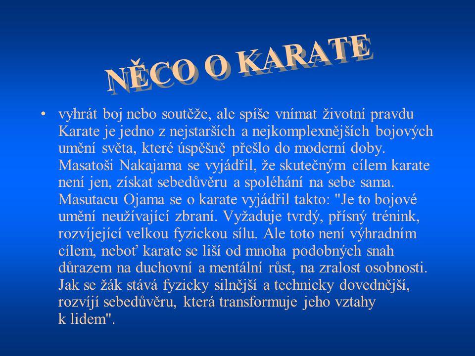 """ZAKLADATEL KARATE """"Karate-do označuje """"cestu prázdné ruky , které bylo původně rozvíjeno na Okinawě Roku 1922 bylo přeneseno mistrem Gichin Funakoshi do Japonska Bojové umění obsahuje převážně úderné názorové a krokové techniky, ovšem také shozy, zdvihy a hmaty ke spoutání"""