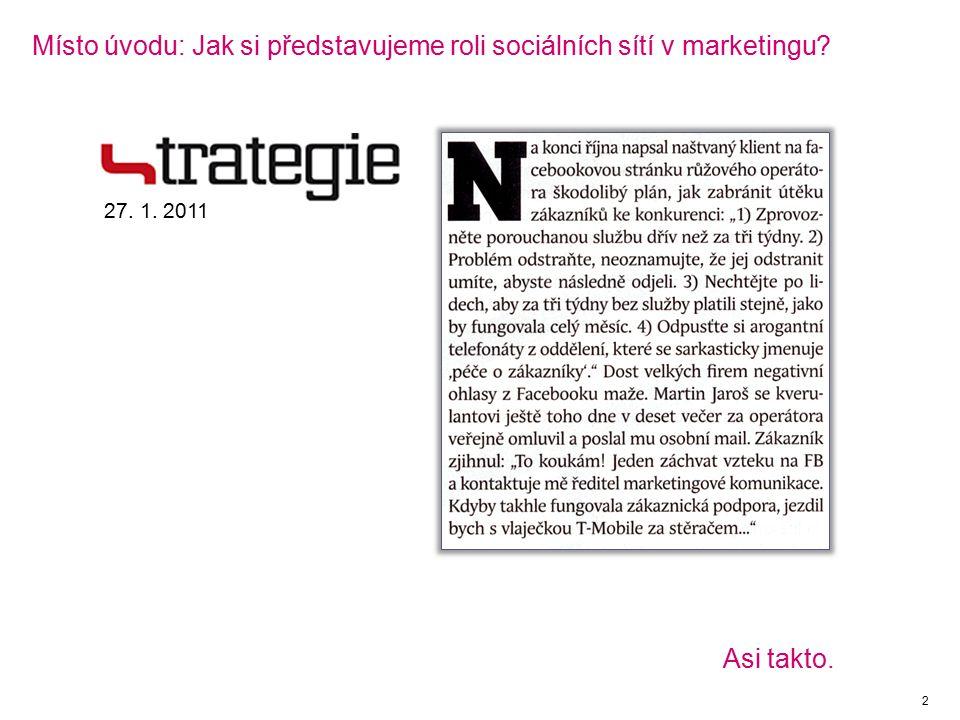 Místo úvodu: Jak si představujeme roli sociálních sítí v marketingu 2 27. 1. 2011 Asi takto.