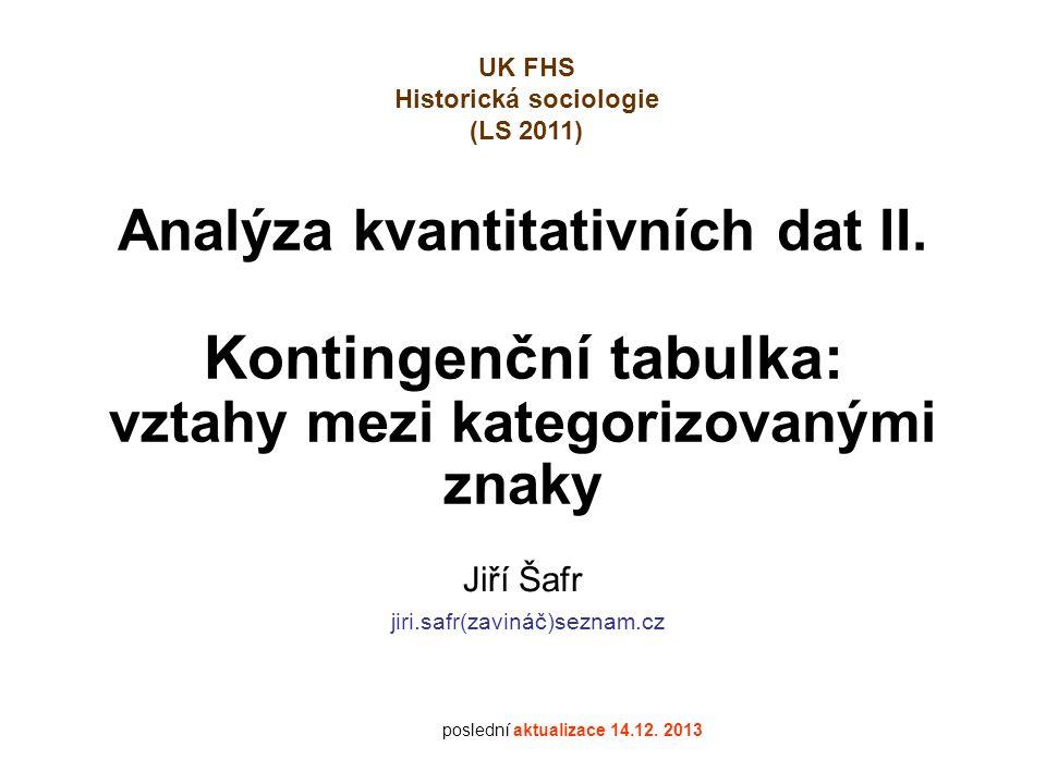 Analýza kvantitativních dat II. Kontingenční tabulka: vztahy mezi kategorizovanými znaky Jiří Šafr jiri.safr(zavináč)seznam.cz poslední aktualizace 14
