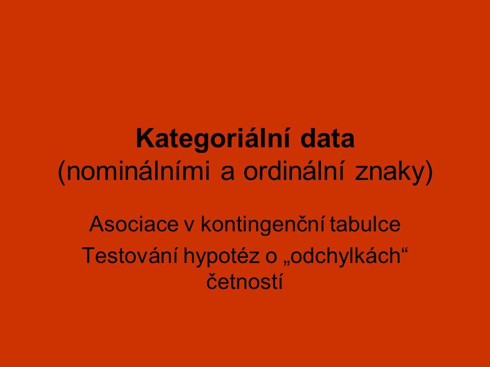 """Kategoriální data (nominálními a ordinální znaky) Asociace v kontingenční tabulce Testování hypotéz o """"odchylkách"""" četností"""