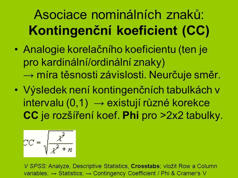 Asociace nominálních znaků: Kontingenční koeficient (CC) Analogie korelačního koeficientu (ten je pro kardinální/ordinální znaky) → míra těsnosti závi