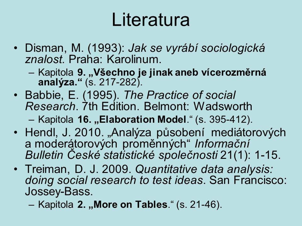 """Literatura Disman, M. (1993): Jak se vyrábí sociologická znalost. Praha: Karolinum. –Kapitola 9. """"Všechno je jinak aneb vícerozměrná analýza."""" (s. 217"""