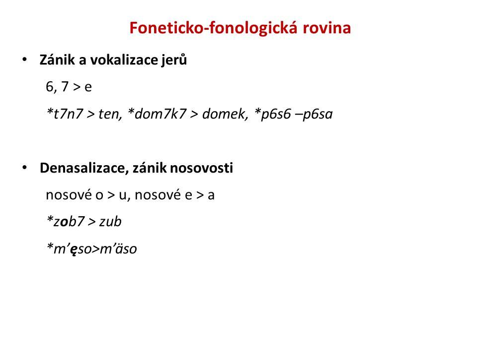Foneticko-fonologická rovina Zánik a vokalizace jerů 6, 7 > e *t7n7 > ten, *dom7k7 > domek, *p6s6 –p6sa Denasalizace, zánik nosovosti nosové o > u, nosové e > a *zob7 > zub *m'ęso>m'äso