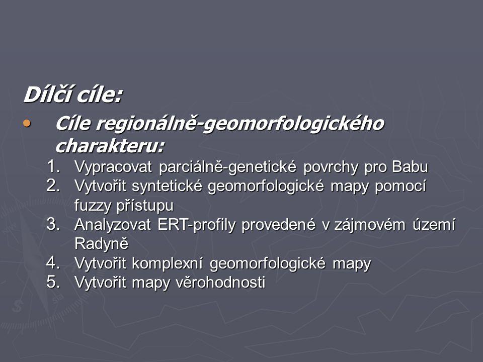 Dílčí cíle: Cíle regionálně-geomorfologického charakteru: Cíle regionálně-geomorfologického charakteru: 1. Vypracovat parciálně-genetické povrchy pro