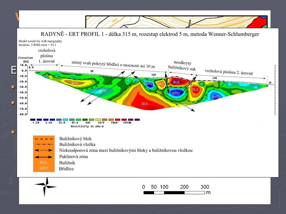 Vypracování cílů metodologického charakteru 3. Analýza ERT-profilů provedených v zájmovém území Radyně ERT = Elektrická odporová tomografie Geofyzikál