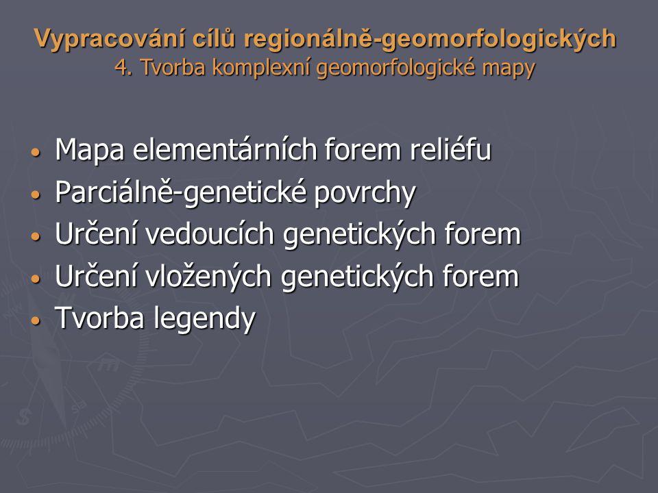 Mapa elementárních forem reliéfu Mapa elementárních forem reliéfu Parciálně-genetické povrchy Parciálně-genetické povrchy Určení vedoucích genetických