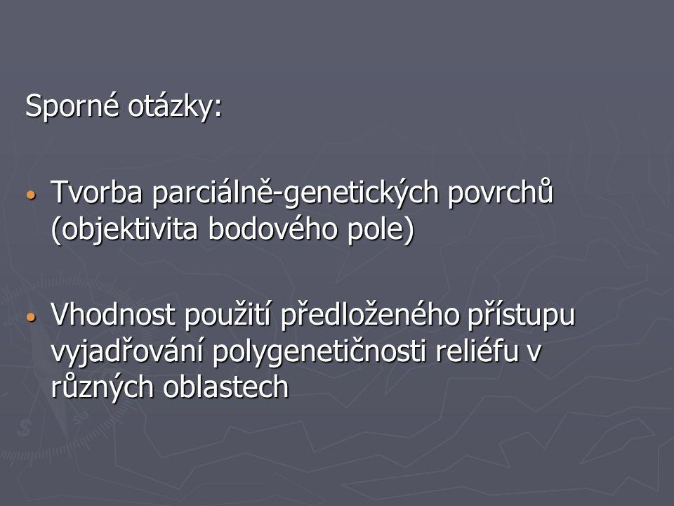 Sporné otázky: Tvorba parciálně-genetických povrchů (objektivita bodového pole) Tvorba parciálně-genetických povrchů (objektivita bodového pole) Vhodn
