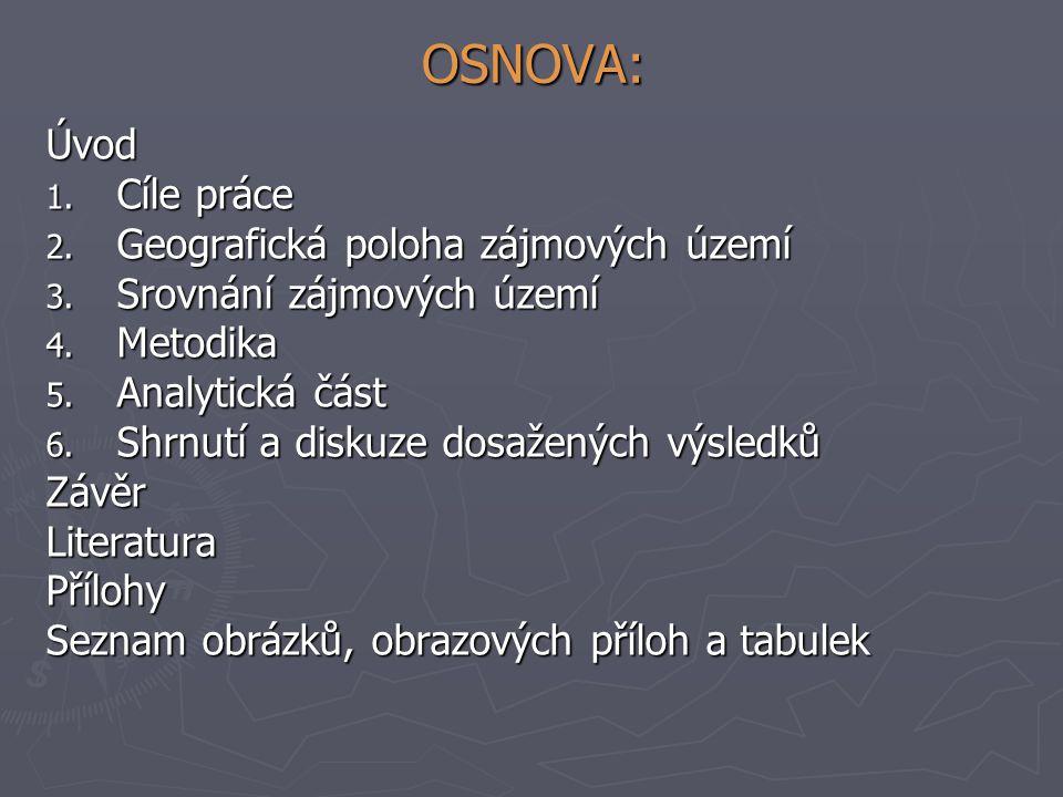 OSNOVA: Úvod 1. Cíle práce 2. Geografická poloha zájmových území 3. Srovnání zájmových území 4. Metodika 5. Analytická část 6. Shrnutí a diskuze dosaž