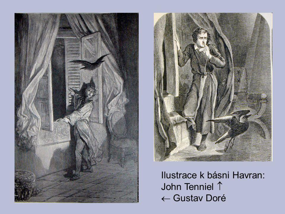 Ilustrace k básni Havran: John Tenniel   Gustav Doré