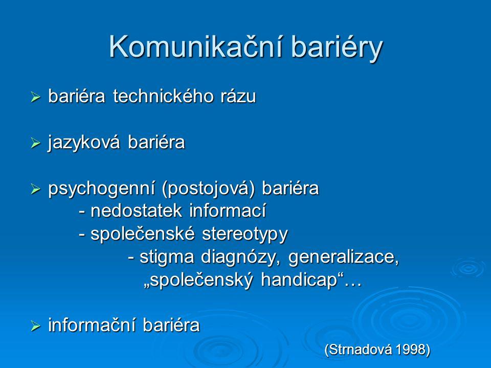 Komunikační bariéry  bariéra technického rázu  jazyková bariéra  psychogenní (postojová) bariéra - nedostatek informací - společenské stereotypy -