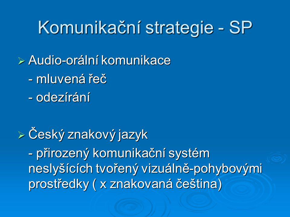 Komunikační strategie - SP  Audio-orální komunikace - mluvená řeč - odezírání  Český znakový jazyk - přirozený komunikační systém neslyšících tvořen