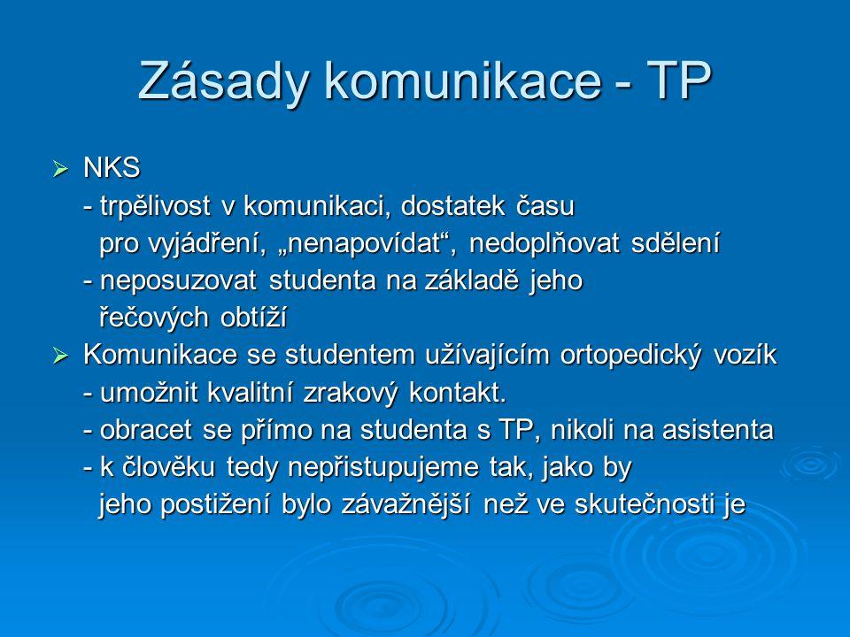"""Zásady komunikace - TP  NKS - trpělivost v komunikaci, dostatek času pro vyjádření, """"nenapovídat"""", nedoplňovat sdělení pro vyjádření, """"nenapovídat"""","""