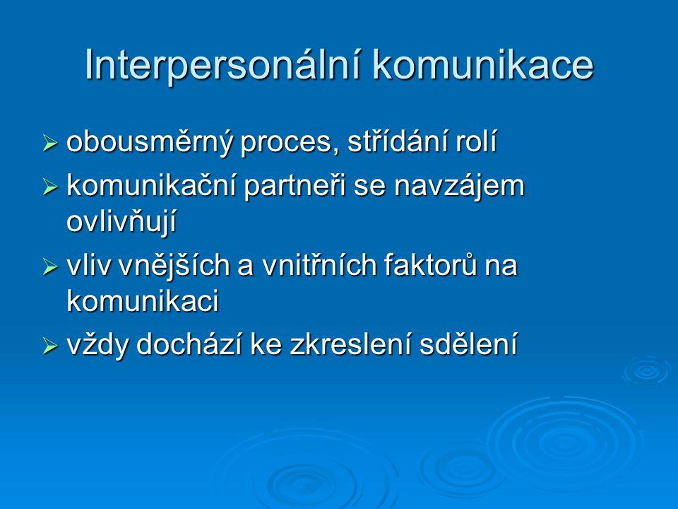 Interpersonální komunikace  obousměrný proces, střídání rolí  komunikační partneři se navzájem ovlivňují  vliv vnějších a vnitřních faktorů na komu