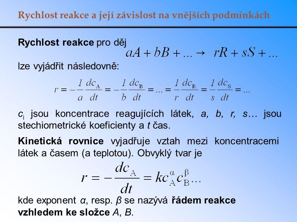 Rychlost reakce a její závislost na vnějších podmínkách Rychlost reakce pro děj lze vyjádřit následovně: c i jsou koncentrace reagujících látek, a, b,